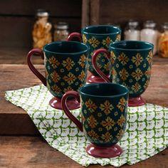 4 Pack Vintage Geo 18-Ounce Latte Mug Set Mugs Mothers Day Gift Top Quality Kit  #THEPIONEERWOMAN