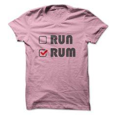 RUM or RUN T-Shirts, Hoodies. CHECK PRICE ==► https://www.sunfrog.com/Drinking/RUM-or-RUN-LightPink-Guys.html?id=41382