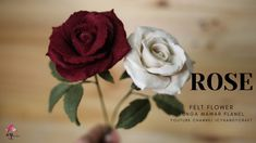 HOW TO MAKE FELT FLOWER ROSE TUTORIAL | CARA MEMBUAT BUNGA MAWAR DARI FL... Felt Flower Bouquet, Diy Bouquet, Felt Flowers, Bouquets, Do It Yourself Projects, Projects To Try, Felt Projects, Flower Video, Rose Tutorial