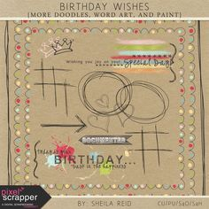 Birthday Wishes Doodles, Word Art, And Paint Kit. Included in Birthday Wishes Bundle.*