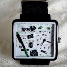 MINI hodinky - Rozvrh - černé Square Watch, Apple Watch, Watches, Wristwatches, Clocks