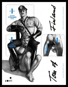 """""""Itella, the Finnish postal service, is releasing commemorative stamps featuring the art of Tom of Finland, or Touko Laaksonen (1920-1991). Laaksonen remains a towering and iconic figure in the gay art scene. His sketches, often explicit, were unapologetic depictions of gay sex and relationships."""""""