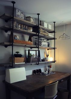 DIY Industrial Wood Shelves... Maybe if I ever re-do Alex's office??