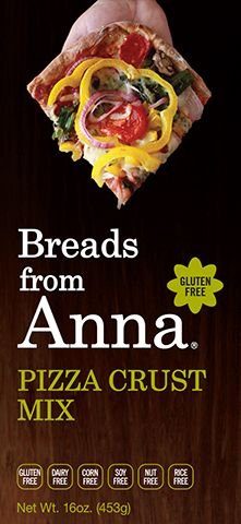 Breads From Anna - Pizza Crust Mix. Gluten-Free. Dairy-Free. Rice-Free. Corn-Free. Soy-Free. Nut-Free. GMO-Free.