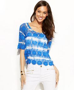 INC International Concepts Petite Three-Quarter-Sleeve Tie-Dye Crochet Top - Tops - Women - Macy's