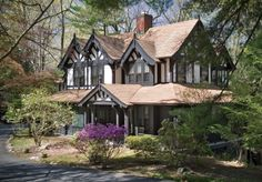 Gingerbread-style house is nestled in the woods (Tuxedo Park, NY)