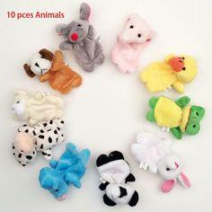 Family Finger Toy Cartoon Animal Velet Finger Puppet Plush Baby Favor Toys Dolls Kid Child Boys Girls Educational Hand Toy