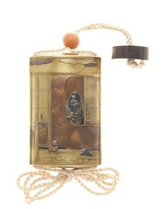 A gold lacquer and inlaid metal five-case inro By Hasegawa Shigeyoshi, 19th…