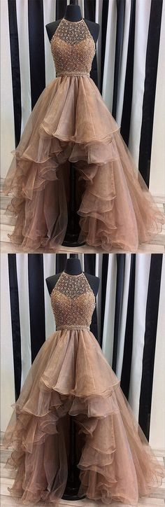 sequins beaded prom dress,organza prom dress,high low prom dress,halter prom gowns,champagne prom dress,prom dresses 2017