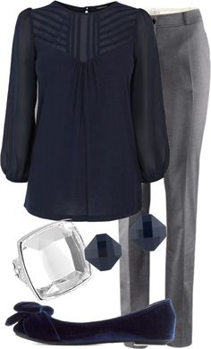 """Teacher Outfits on a Teacher's Budget"" by allij28 on Polyvore @Wendolyn Lizeth Oliveros. Have a couple navy shirts. love navy and grey."
