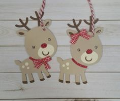 Reindeer Gift Tags Handmade Christmas Tags Cute by ACardDaysWork
