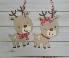 Reindeer Gift Tags Handmade Christmas Tags Cute by ACardDaysWork
