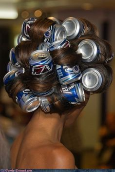 Loose waves from beers cans - just blow dry to apply heat!