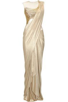 Gold shimmer bugle bead embroidered draped sari gown by Gaurav Gupta Drape Sarees, Saree Draping Styles, Saree Styles, Indian Dresses, Indian Outfits, Salwar Kameez, Saree Gown, Dhoti Saree, Lehenga