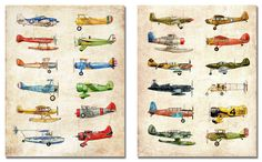 TWO 11x14 Vintage Airplane Collection, antiqued watercolor prints (FlightsByNumber etsy.com)