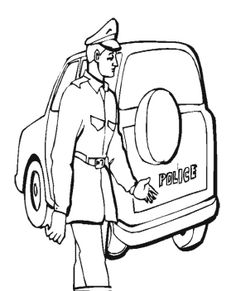 Drawing Policeman Car Coloring Pages