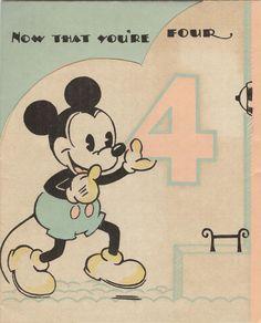 10 B 14: Mickey Mouse 4th birthday card