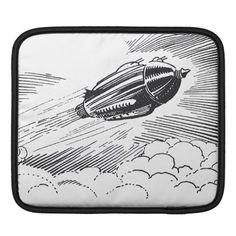 Vintage Science Fiction Spaceship Rocket in Clouds iPad Sleeve