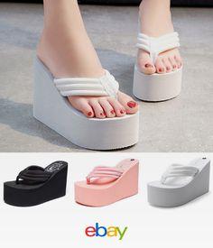 9a32fbe28c8 Sandals Women s Flip Flops High Slippers Heels Wedge Platform Summer Beach  Shoe Beach Flip Flops