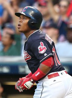 Cleveland Indians Jose Ramirez watches his home run head for the seats in the 2nd inning against the Oakland Athletics  at Progressive Field  on July 30, 2016.   Indians won 6-3   (Chuck Crow/The Plain Dealer)