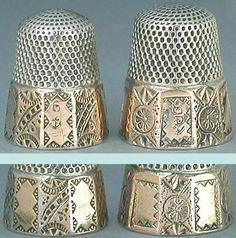 Pair of Antique Sterling Silver Paneled Gold Band Thimbles by Stern Bros.; Circa 1890's