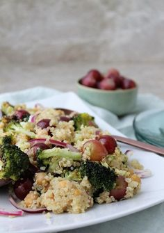 Grape & Broccoli Quinoa Salad — Whole Nourishment Quinoa Salad, Broccoli, Potato Salad, Entrees, Cauliflower, Brunch, Healthy Recipes, Chicken, Vegetables