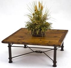 One option for a coffee table which will be in front of the fire and by our new sectional sofa (all brown leather) Barn Wood Coffee Table with Figure 8 Base