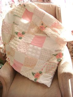 Pink Clouds Vintage Chenille Patchwork Quilt: