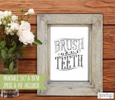 """""""Brush Your Teeth"""" typography bathroom wall art from 2 june bugs printable wall decor collection!"""