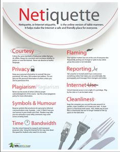 This is an infographic that addresses Netiquette in a public or school situation. It includes being courteous both online and offline!  For example, one of their tips of Netiquette is not using up the school's bandwidth if you aren't doing serious work and are just playing around!  It's important for youth to understand that bandwidth usage, time, plagiarism, and area cleanliness are all parts of proper internet usage!
