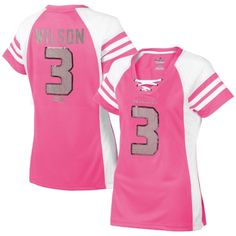 Women's Seattle Seahawks Russell Wilson Majestic Pink Draft Him IV T-Shirt