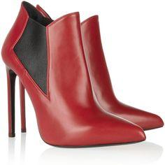 Saint Laurent Leather ankle boots ($965) via Polyvore