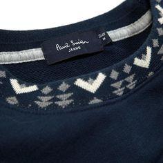 Paul Smith Jacquard Trim Crewneck Sweater (Navy)