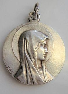 Our Lady of Lourdes. Silvered metal signed O. Souvenir from Lourdes, in style Catholic Medals, Our Lady Of Lourdes, Immaculate Conception, Small Words, Bronze Sculpture, Virgin Mary, White Women, Prayer, Reflection