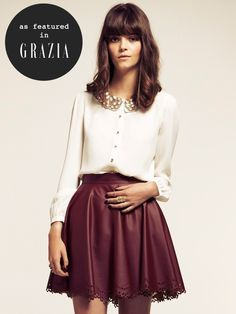 Burgundy Wine Flowy Faux Vegan Leather Skater Skirt Elastic Waist ...