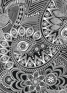 tattoo - mandala - art - design - line - henna - hand - back - sketch - doodle - girl - tat - tats - ink - inked - buddha - spirit - rose - symetric - etnic - inspired - design - sketch Zentangle Patterns, Fabric Patterns, Zentangles, Sewing Patterns, Coloring Books, Coloring Pages, Adult Coloring, Black And White Fabric, Black White