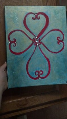 Cross painted on canvas with bling and hearts, diy, multi medium art Cross Canvas Paintings, Diy Canvas Art, Easy Paintings, Canvas Artwork, Hand Painted Crosses, Painted Rocks, Diy Painting, Painting & Drawing, Scripture Canvas