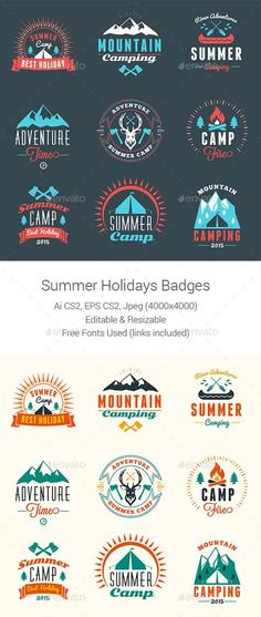 Summer Camping Badges Design #labels download: http://graphicriver.net/item/summer-camping-badges/11826174?ref=ksioks