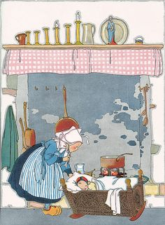 """Vintage illustration from the children's book titled: """"Nursery Friends From France""""- My Travelship. Illustrations by Maud and Miska Petersham. Vintage Children's Books, Vintage Cards, Vintage Postcards, Monica Crema, Baumgarten, Children's Book Illustration, Nursery Rhymes, Childrens Books, Illustrators"""