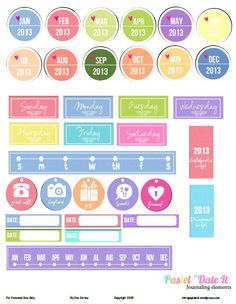 Free Pastel Date It Journaling Labels from Vintage Glam Collectibles
