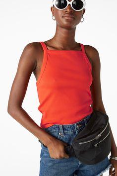 Monki Image 2 of Ribbed singlet in Orange Reddish Dark