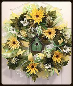 Your place to buy and sell all things handmade Deco Mesh Garland, Deco Mesh Wreaths, Ribbon Wreaths, Burlap Wreaths, Wreath Crafts, Diy Wreath, Wreath Ideas, Yellow Chrysanthemum, Mesh Wreath Tutorial