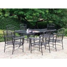 Cast iron dining room set wrought patio furniture table vintage and chairs antique . Wrought Iron Outdoor Furniture, Wrought Iron Patio Chairs, Outdoor Furniture Sets, Outdoor Buffet Tables, Outdoor Dining Set, Outdoor Decor, Patio Dining, Dining Sets, Outdoor Living