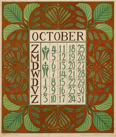 Dutch art nouveau calendar page | JV