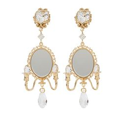 Dolce & Gabbana  Mirror On The Wall Earrings ($1,075) ❤ liked on Polyvore featuring jewelry, earrings, accessories, gold jewellery, dolce gabbana jewelry, mirrored jewelry, mirror earrings and earring jewelry