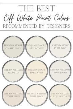 A round-up of the most recommended off white color paints by designers for a bright, sophisticated home that still feels warm and inviting. Off White Paint Colors, Off White Paints, Off White Color, Benjamin Moore Linen White, Blush Pink Paint, Pink Ceiling, Color Paints, Painted Furniture, Sherwin Williams Alabaster