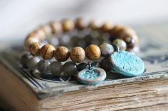Picture Jasper, Beaded Bracelet, Stacking Bracelet, 8mm, Copper Charm, Botanical…