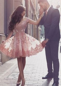 Dramatic Off Shoulder Short Sleeves Mini Blush Lace Homecoming Dress with…