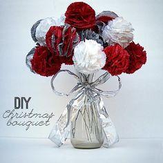 Tissue Paper Flowers Christmas Bouquet