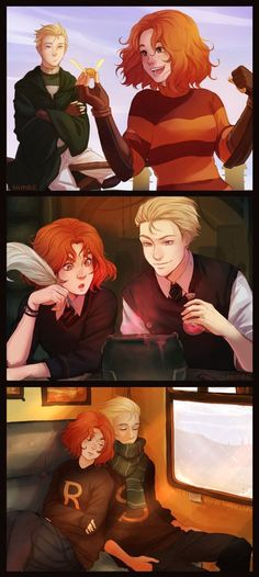 Scorose by nymre on DeviantArt---ok, so I know this is supposed to be Scorpius and Rose, but I ship Draco and Hermione so hard that my mind can only see it as them. Fanart Harry Potter, Arte Do Harry Potter, Harry Potter Ships, Yer A Wizard Harry, Harry Potter Love, Harry Potter Universal, Harry Potter Fandom, Harry Potter Memes, Harry Potter World